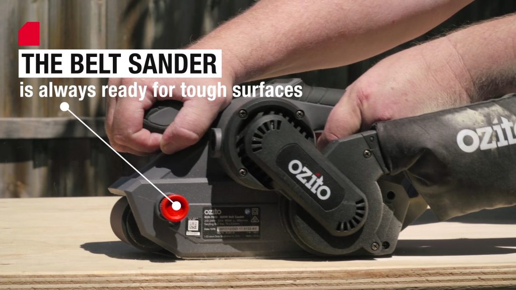 Person using an outdoor sanding tool